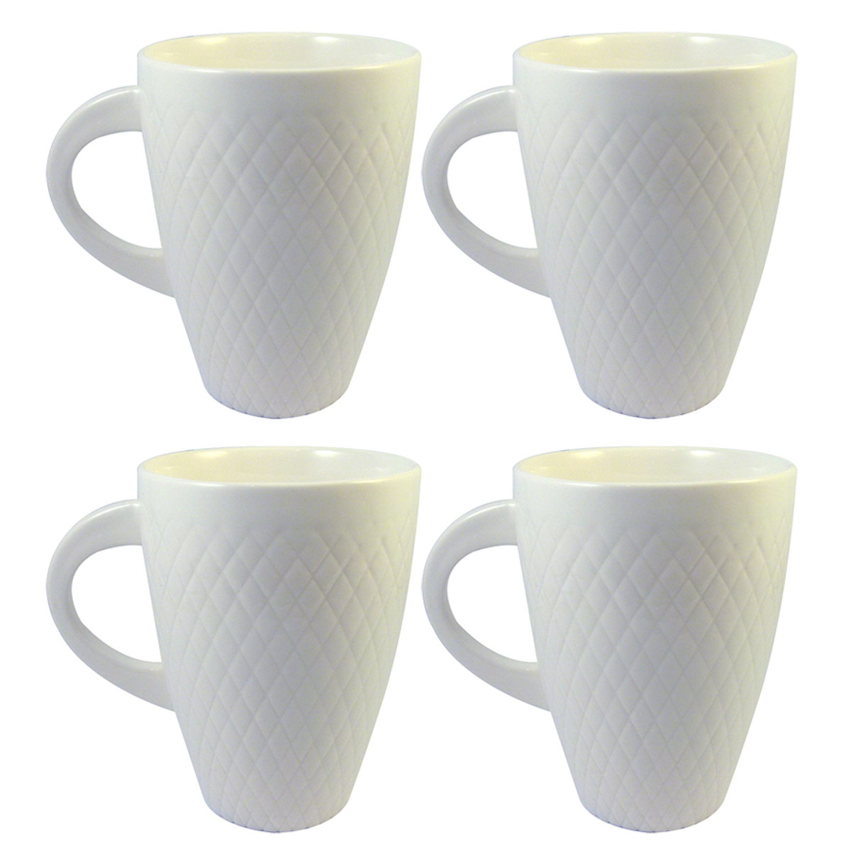 Set de 4 mugs en porcelaine blanche relief damier 25cl