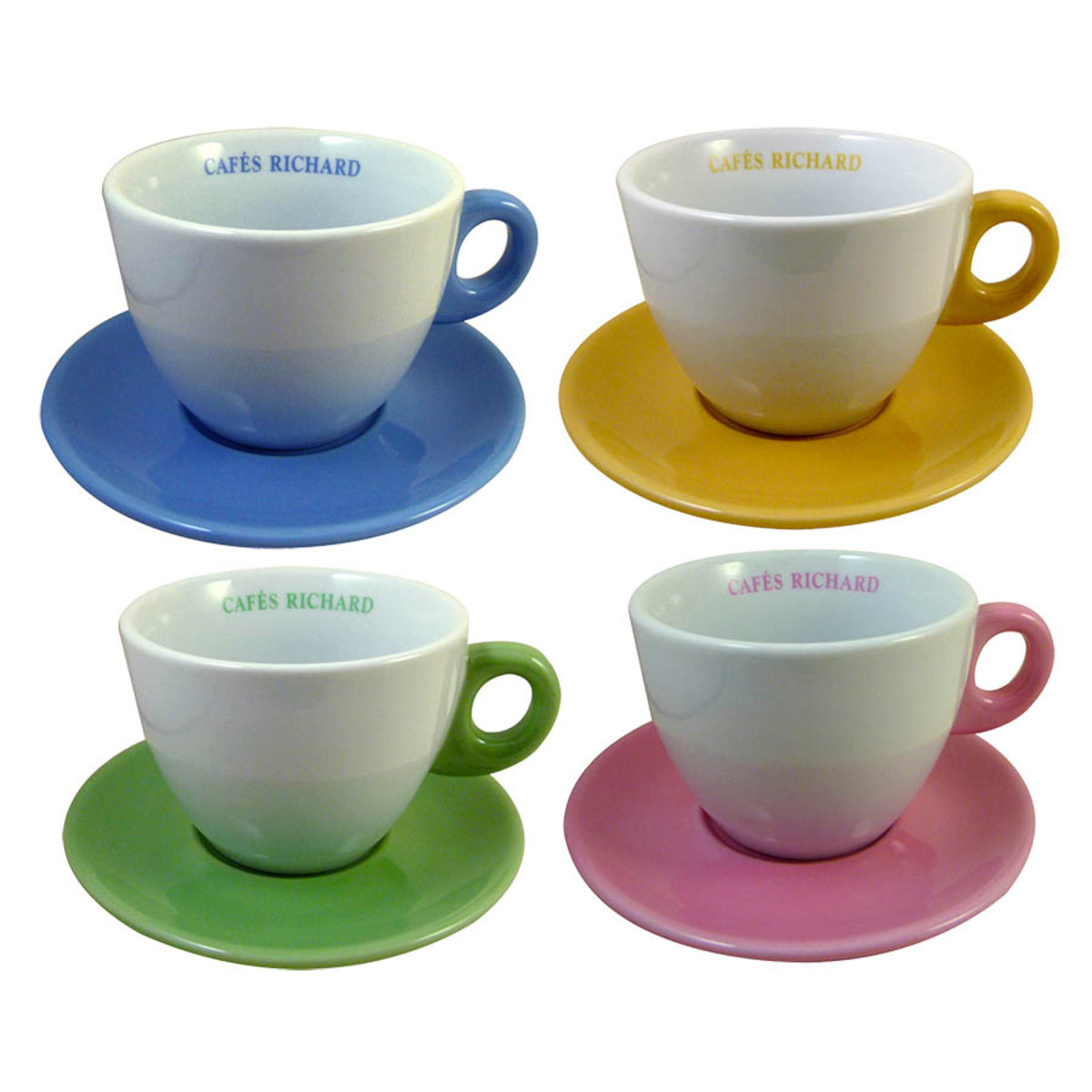 Set de 4 tasses et soucoupes chocolat couleurs assorties Cafés Richard