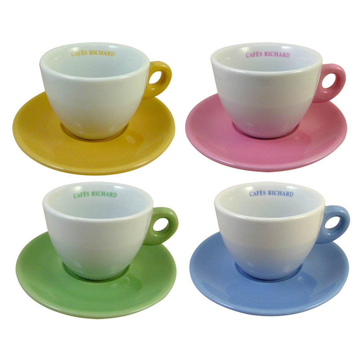 Set de 4 tasses et soucoupes thé couleurs assorties Cafés Richard