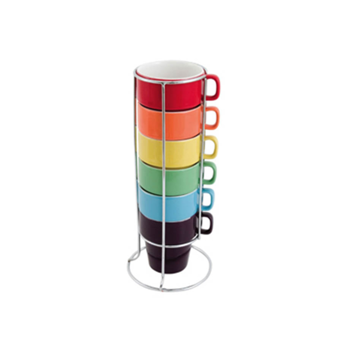 Set de 6 tasses cappuccino multicolores en céramique