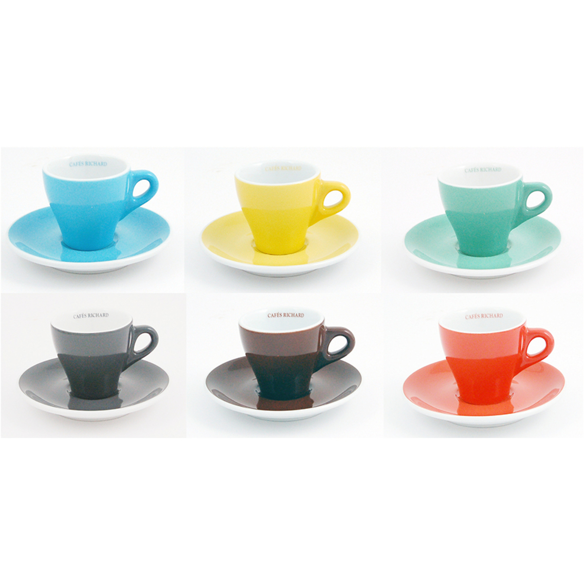 Set de 6 tasses et soucoupes expresso couleurs assorties de Cafés Richard